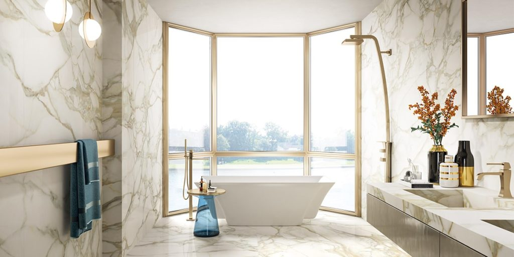 FMG offers the unmistakable graduated shading and veining of Calacatta Oro marble on large format technical ceramic tiles, perfect for walls, floors and made to order furnishings.